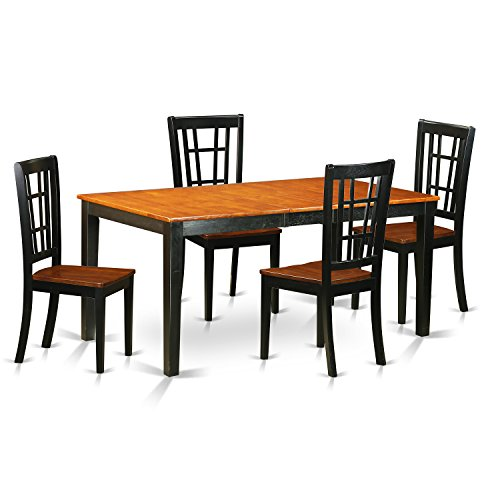 (East West Furniture NICO5-BLK-W 5-Piece Dining Table Set, Black/Cherry Finish)