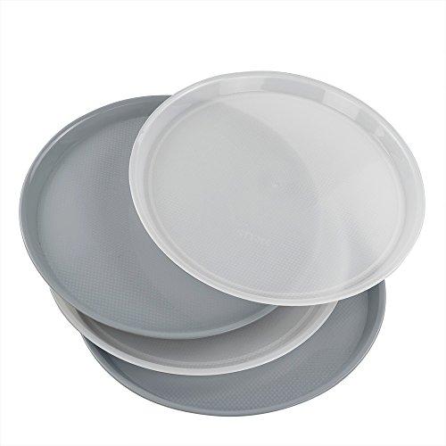 Jekiyo Plastic Round Serving Tray, 13.5-inch, Set of 4