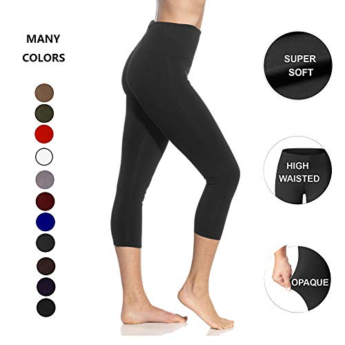 High Waisted Soft Capri Leggings for Women-Tummy Control and Elastic Opaque Slim-One/Plus Size 20+Design  (Black, Extra Plus Size (US 24-32))