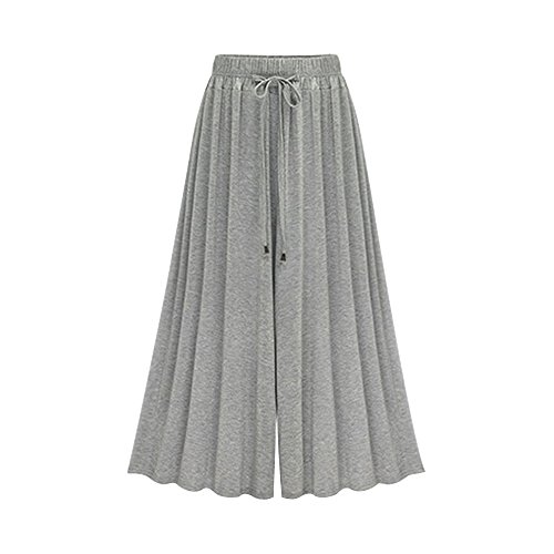 Modal Jersey Cropped Pant - Women's Elastic Waist Modal Jersey Wide Legs Cropped Culotte Pants Grey Ankle Length Tag 3XL-US 10
