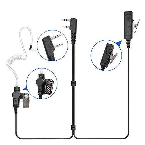 Guanshan Surveillance Acoustic Tube Earphone Headset Earpiece PTT Mic for Kenwood TK2170 TK2160 TK3170 TK3160 TK2312 TK3312 TK3407 TK2406 TK2306 TK3306 TK2206 TK2173 TK2102 TK3212 Radio