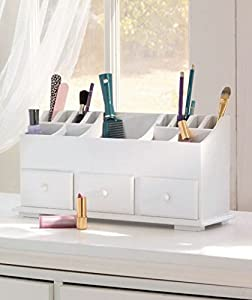 NEW Wooden Vanity Beauty Cosmetic Makeup Storage Organizer Caddy Display  WHITE (3 Drawer)