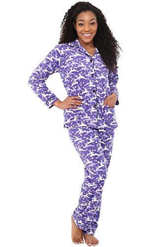 Alexander Del Rossa Womens Fleece Pajamas, Long Button Down Pj Set, 2X Grey and White Reindeer (A0324Q612X)