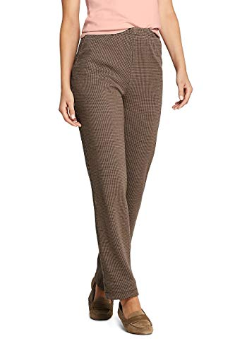Lands' End Women's Sport Knit Elastic Waist Pants High Rise Jacquard, L, Coffee Bean Houndstooth from Lands' End