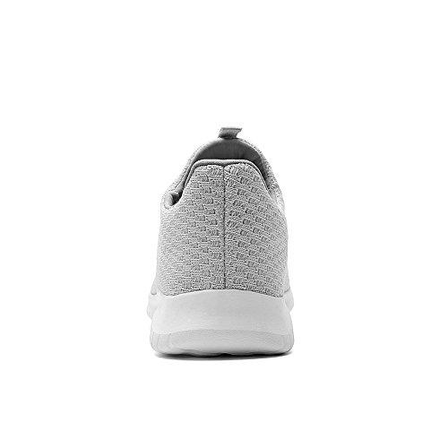 TIOSEBON Women's Lightweight Casual Walking Athletic Shoes Breathable Flyknit Running Slip-on Sneakers 2106 Gray jdx4ybI6l5