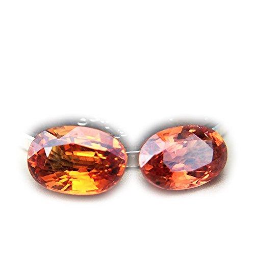 (Lovemom 1.34ct/2pcs Natural Oval Orange Sapphire Songea Tanzania #R)
