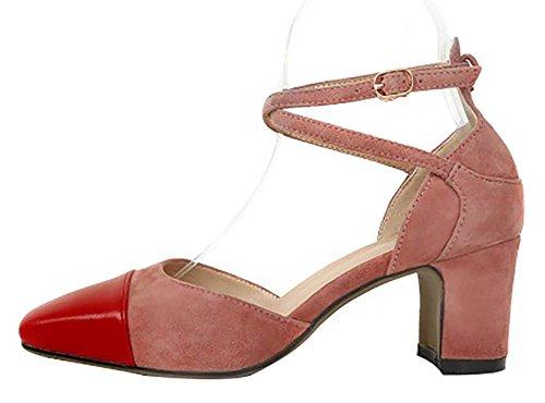 Calaier Mujeres Catxab Square-toe 6.5cm Block Heel Hebilla Sandalias Zapatos Rojo