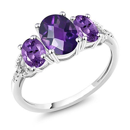 10K White Gold Diamond Accent Three-Stone Engagement Ring set with 1.75 Ct Oval Checkerboard Purple Amethyst (Size 9)