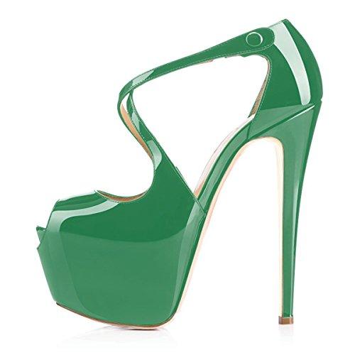 Ybeauty Cinghia Donne Corss Della Punta Verde Pompe Piattaforma Pigolio Sexy Caviglia Stiletto Tallone Pattini Di Modo Delle Pompa Della Della 4r4aAw
