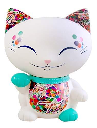 White Mani The Lucky Cat Koi Fish Design Money Bank, 6 3/4 Inches