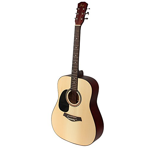 Joy JOY202 Left-Handed, Beginner 41″ Full Size Spruce Top Acoustic Guitar in Natural