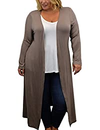 Womens Plus Size Cardigan with Long Duster Length