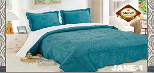 WPM 3 Piece Velvet Bedspread Set Queen or King Size Bed Bedding with Pillow Cases (Jane 1- Turquoise, Queen)
