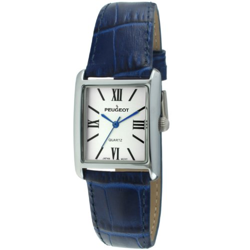 - Peugeot Women's Silver Tank Roman Numeral Blue Leather Band Watch 3036BL