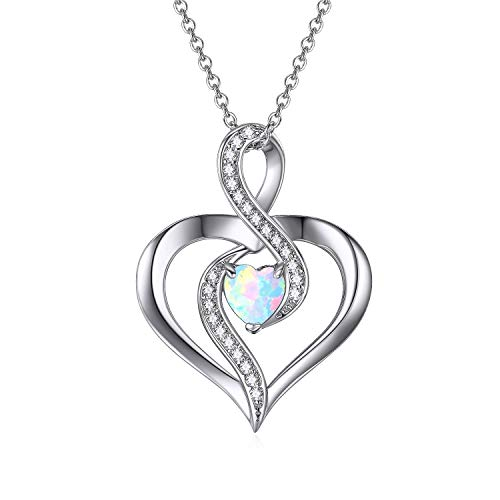 Sterling Silver Opal Heart Pendant Necklace With Infinity Love Cubic Zirconia Jewelry Gift for Mother Teen -