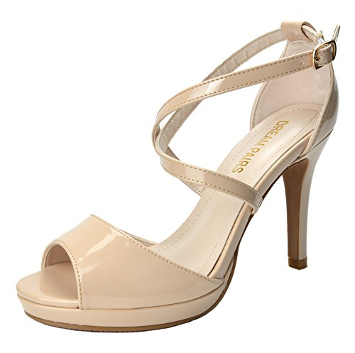 DREAM PAIRS Women's GAL Nude Pat Stiletto Dress Heel Pump Sandals - 11 M US (Metallic Rhinestone Buckle)