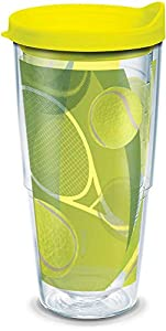 Tervis 1164177 Tennis Balls Tumbler with Wrap and Neon Yellow Lid 24oz, Clear