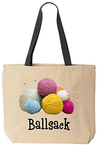Ballsack Funny Cotton Canvas Tote Bag Reusable by BeeGeeTees (Tote Sew Bag Canvas)