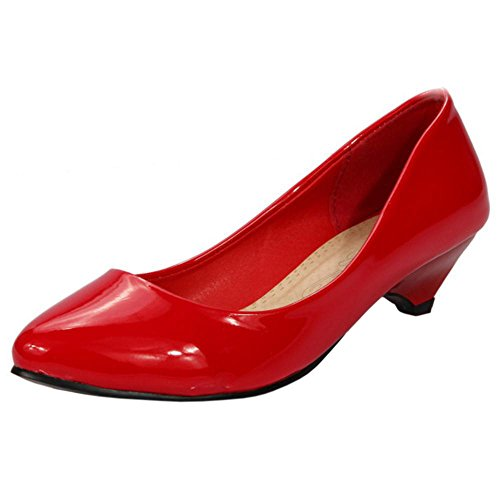 TAOFFEN Women's Solid Slip On Pumps Shoes Red 9INsDCvbx