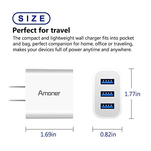 Wall Charger, Amoner 2Pack 15W 3-Port USB Charger Cube Portable Travel Wall Charger Plug for iPhone Xs/XS Max/XR/X/8/7/6…  