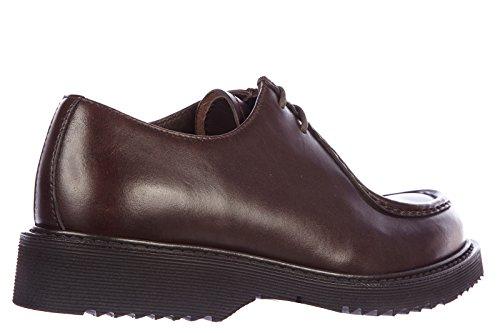 Prada chaussures à lacets classiques homme en cuir oxford rodeo marron