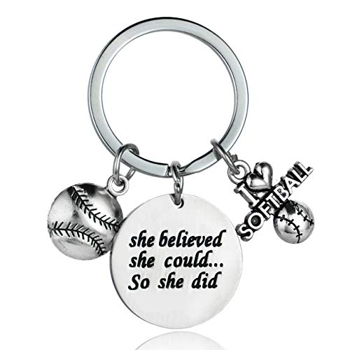 Softball Keychain Gifts for Softball Player Girls Women She Believed She Could So She Did Softball Jewelry Team and Coaches Gifts -
