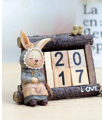 Dark Khaki Zamtac Creative Desktop Office Miss Rabbit Calendar Fashion Desktop Home Decoration Gifts for Students culpture Statue - (color  Multi-colord)