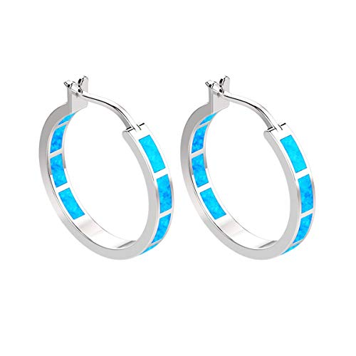 - YOURDORA Women 925 Sterling Silver Blue Fire Opal Hoop Earrings plated 9ct White Gold Idea Gift for Her