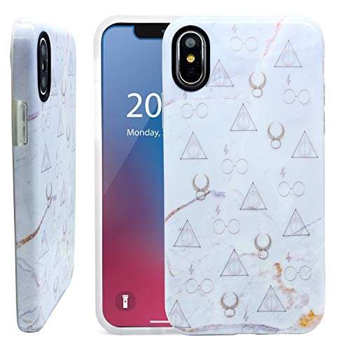 Phone Harry Cell Potter - Unov Phone Case Soft Protective Slim TPU Shockproof Bumper Inside Design Support Wireless Charging Cover for iPhone Xs Max 6.5 Inch (Marble Hallows)