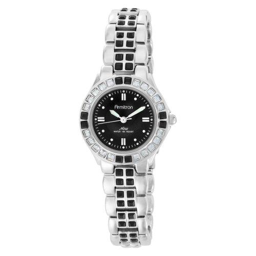 - Armitron Women's 753689BKSV NOW Swarovski Crystal Accented Silver-Tone Black Dial Dress Watch