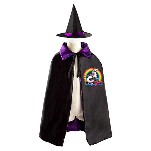 69PF-1 Halloween Cape Matching Witch Hat Unicorn Mermaid Wizard Cloak Masquerade Cosplay Custume Robe Kids/Boy/Girl Gift Purple