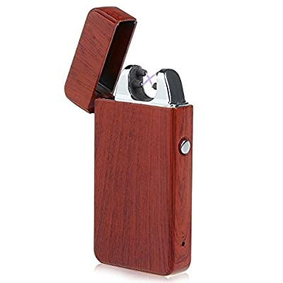 4BOSS PREMIUM WOOD USB Rechargeable Electronic lighter Windproof, flameless, no gas and fluid required, energy-saving side button double arc lighter.
