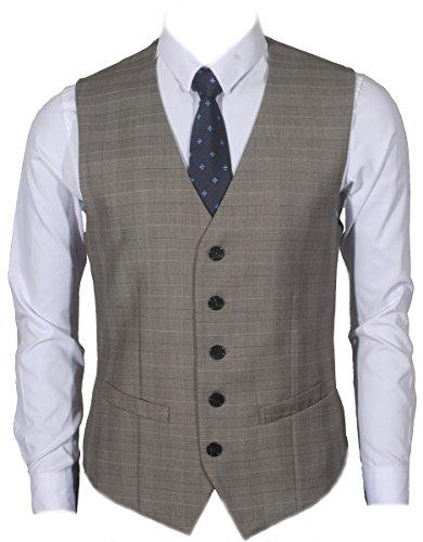 Ruth&Boaz Men's 2Pockets 5Button Business Suit Vest (XXXL, GLEN PLAID CHECK BEIGE)
