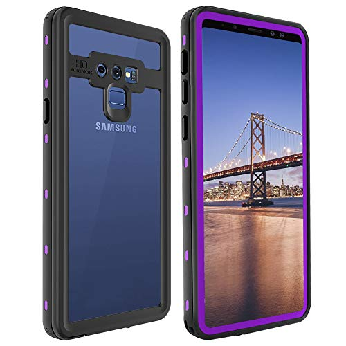 axy Note 9 Waterproof Case, Shockproof Snowproof Cover IP68 Underwater Full Body Protection Crystal Clear Built-in Screen Protector Case for Samsung Note 9 (Purple) ()