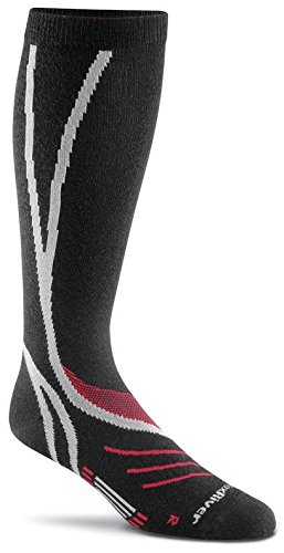 FoxRiver Men's Peak Series VVS Ultra Pro Ultra-Lightweight and Silk Ski Socks, X-Large, Black/Silver