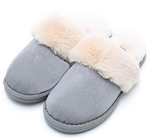 Womens Slipper Memory Foam Fluffy Soft Warm Slip On House Slippers,Anti-Skid Cozy Plush for Indoor Outdoor(A-Blue 8.5-9 B(M) ()