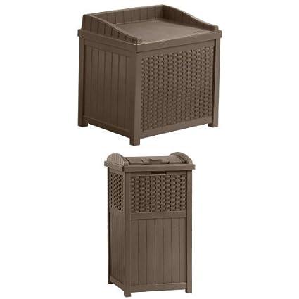 Superbe Suncast SSW1200 Mocha Resin Wicker 22 Gallon Storage Seat And Wicker Trash  Hideaway Bundle