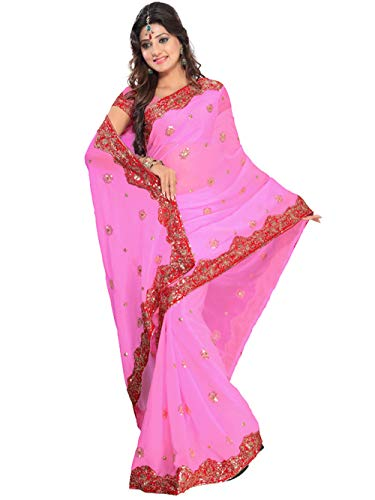 Indian Trendy Women's Bollywood Sequin Embroidered Sari Festival Saree Unstitched Blouse Piece Costume Boho Party Wear (Pink) ()