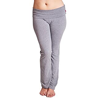 Unique Styles Gray Plus Size Clothes Effect Ladies Fold-Over Waist Flared Legs Yoga Pants