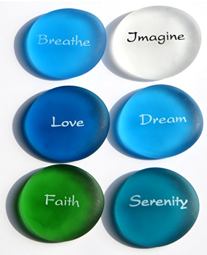 Lifeforce Glass The Mermaid's Message II, Frosted Sea Glass Stones, Six Inspiring Words in Beach -