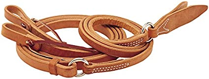 Harness Leather Romal REINS Set w// Leather Poppers /& BARBWIRE Design