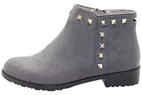 grey Chaussures 55 Talon Bottes True Bottines D'hiver Chelsea Biker Style De Le18 Dames Face Femmes Filles Bloc wHqaS
