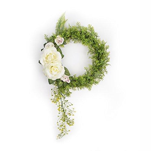FAVOWREATH 2018 Vitality Series FAVO-W18 Handmade 13 inch Green Grass Big Roses Falling Rattan Grapevine Wreath For Season Festival Celebration Front Door/Wall/Fireplace Laurel/Eucalyptus Home ()