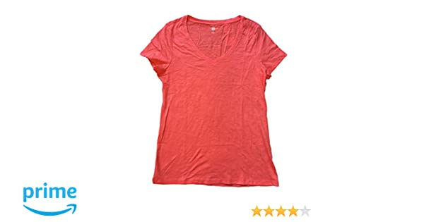 82942cc3 Tommy Hilfiger Womens Slub V Neck T Shirt (Medium, New Coral) at Amazon  Women's Clothing store: