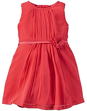Baby Girls-Pleated Chiffon Plume Dress