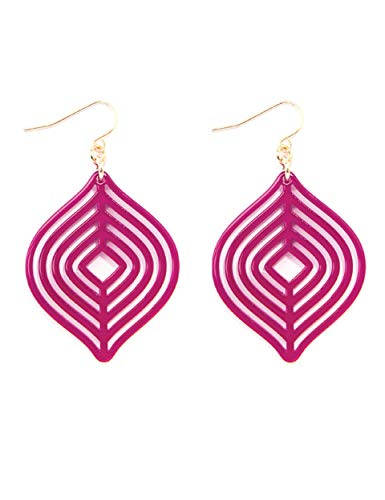 ZENZII Acrylic Resin Layered Teardrop Earrings for Women Girls (Hot Pink) ()