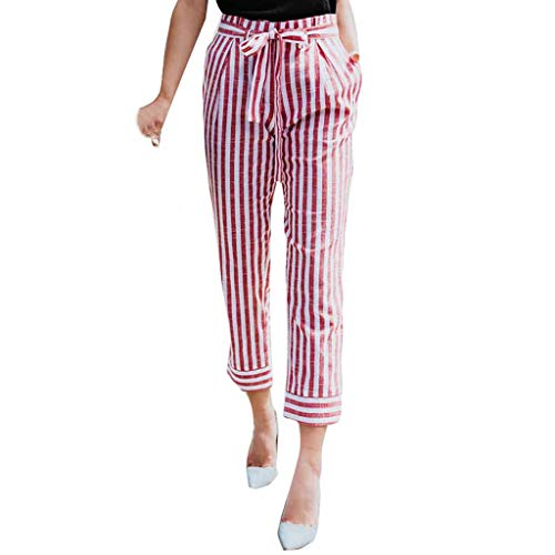 ZEFOTIM Womens Belted High Waist Trousers Ladies Party Casual Pants(D-Pink,Large)