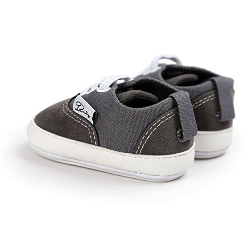 Itaar bebé lienzo zapatillas deportivas antideslizante suela de goma sandalias zapatos con encaje elástico para Infant Toddler niños y niñas primer Walking rosa rosa Talla:0-6 meses gris