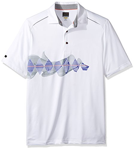 Greg Norman Collection PGA Greg Norman Men's Sublimation Print Polo, X-Large, White price tips cheap