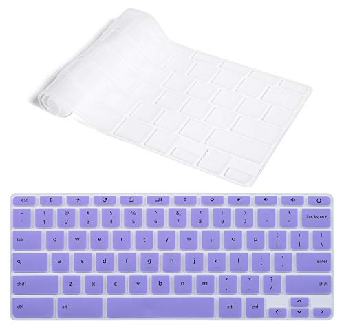 CaseBuy Ultra Thin Keyboard Cover Compatible HP 14 inch Touch-Screen Chromebook/HP Chromebook 14-ca Series/HP Chromebook 14-ak Series/HP Chromebook 14 G2 G3 G4 US Layout, Purple + Clear